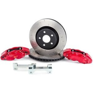 Alcon Rotors 4 Piston Red Calipers Front Brake Upgrade Kit For 07 Jeep Jk