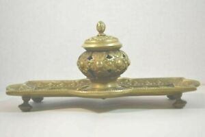 Antique Brass Inkwell Tray With Sphinxes