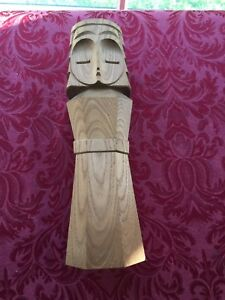 Japanese Artist Signed Hand Carved Wooden Statue