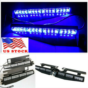 32led Blue Car Windshield Visor Emergency Traffic Advisor Strobe Lights Bar Usa
