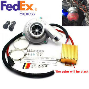 Universal 12v Car Electric Turbo Supercharger Turbocharger Kit Air Filter Intake
