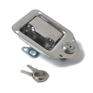 Stainless Steel Paddle Door Lock Latch Handle Truck Tool Box Trailer With Key