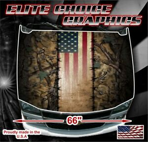 Wicked Wire Camo Flag Vinyl Hood Wrap Bonnet Decal Sticker Graphic
