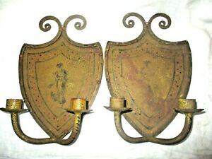 Pair Antique Painted Ladies Cast Iron Wall Sconce Double Candle Holders