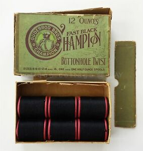 Lot Antique 6 Gudebrod Bros Champion Wood Spool Thread 10 Fast Black 12oz W Box