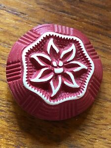 Vintage Button Lovely Floral Neat Red Buffed Celluloid