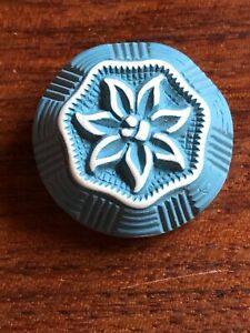 Vintage Button Lovely Floral Neat Blue White Buffed Celluloid