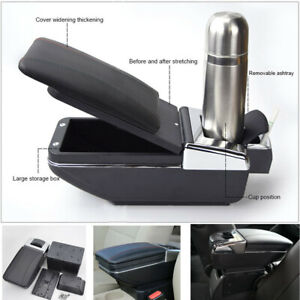 Universal Pu Leather Car Armrest Box Center Console Pads With Cup Holder Black