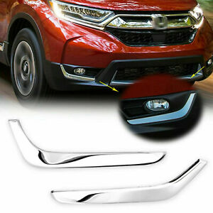 Front Fog Light Lower Cover Eyelid Trim Chrome For Honda Cr V Crv 2017 2018 2019