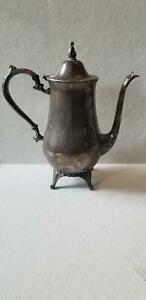 Vintage Silver Plate Ornate 10 1 2 Tea Pot Footed With Hinged Lid Unmarked