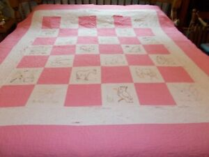 Vintage Antique Hand Embroidered White Squares W Pink Trimming Quilt 78 X 72