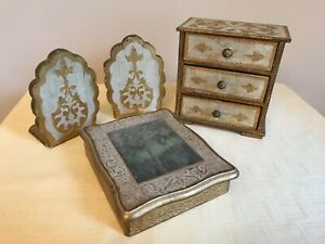 Vtg 3 Piece Set Italian Florentine Gold Bookends Jewelry Box 3 Drawer Chest