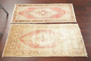Vintage Pack Of 2 Muted 2x3 Oushak Turkish Oriental Area Rug Tribal Distressed