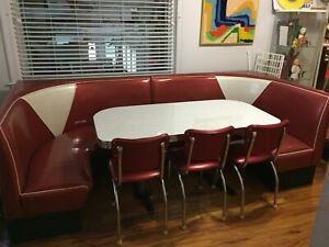 50s Sparkle Vinyl Large Diner Booth Half Circle w Piping Additional Chairs