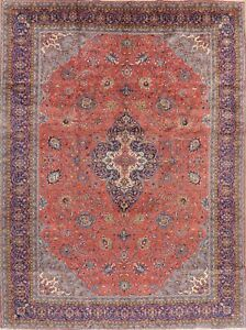 Vintage Coral Red 10x13 Floral Sarough Oriental Area Rug Hand Knotted Wool Large