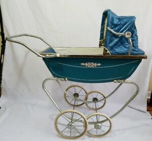 Vintage Antique Baby Rocking Buggy Stroller Carriage Vinyl Metal Southbend