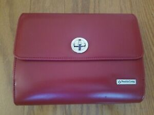 Franklin Covey 6 Ring Planner Red Faux Leather Zipper Agenda Planner