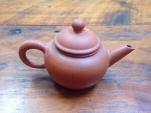 Antique Vtg Chinese Yixing Zisha Mengchen Shudei Kyusu Red Clay Unglazed Teapot