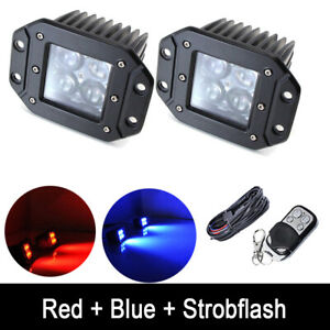 2x Red blue Dual Color Flush Mount Led Work Light Pods Strobe Wiring Harness
