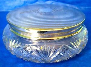 Charles S Green Co Powder Jar Art Nouveau Sterling Silver Lid Crystal Marked