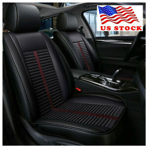 5 seat Pu Leather Car Interior Seat Cover Front Rear Full Set Stripe Style Us