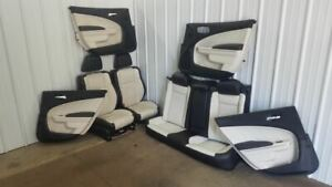 2015 2017 Dodge Charger Front Rear Seat Set W Door Panels Black Cream Leather