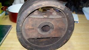 Flat Bell Wooden Pulley Farm Machinery Vintage 12 X 6