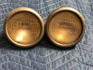 Pair Vintage Glass 4 1 2 Cowl Lamp Lights Glass Lens Early Old Auto Automobile