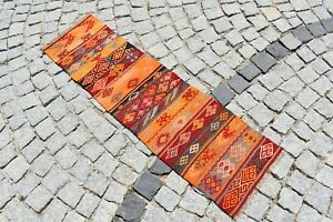 Runner Kilim Rug 15 X 55 Vintage Turkish Embroidered Hallway Corridor Kilim