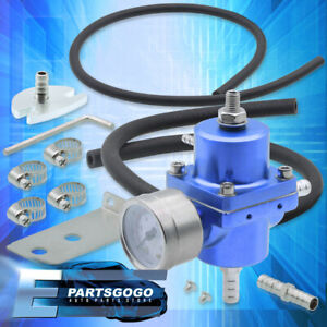 Psi Adjustable Blue Fuel Pressure Regulator Gauge Hose For Universal