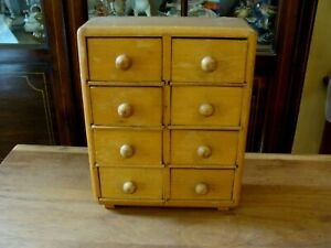 Vintage Wood Spice Cabinet 8 Drawers Wall Mounted Antique Kitchen Primitive