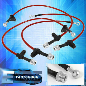 For Civic Eg6 Integra Dc2 Front Rear S s Braided Hose Oil Brake Lines Cable Red