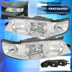 For 1995 1996 1997 1998 1999 Nissan Maxima Clear Headlight Lamps Chrome Housing