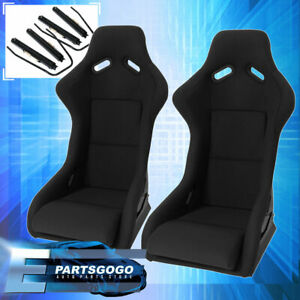Pairs Full Bucket Racing Drift Automotive Cars Seats Spg Profi Style Black Cloth