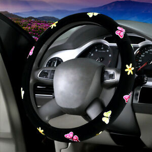Diy Car Accessories Butterfly Embroidered Steering Wheel Cover For Women Black