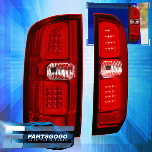 For 15 20 Chevy Colorado Gmc Canyon Led Tube Phantom Red Lens Tail Lights Lamp