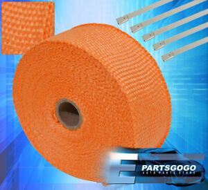 360 X 2 X 1 5mm Orange Heat Wrap Insulation Shield Header Exhaust Zip Ties