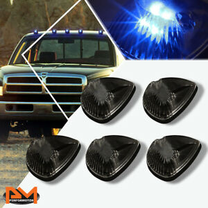 5pcs Cab Roof Running Light Smoked Housing Blue Led For 94 98 Dodge Ram Truck