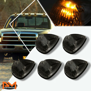 5pcs Cab Roof Running Light Smoked Housing Yellow Led For 94 98 Dodge Ram Truck