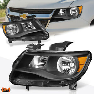 For 15 17 Chevy Colorado Led Drl Projector Headlight Black Housing Amber Corner