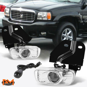 For 99 00 Escalade yukon 5 7l Clear Lens Front Bumper Fog Light lamp switch Pair