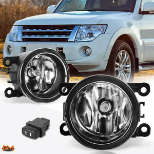 For 10 15 Mitsubishi Montero Sport Clear Lens Front Bumper Fog Light Lamp Switch