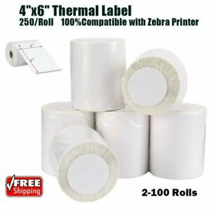 2 100 Rolls 4x6 250 roll Direct Thermal Shipping Labels Zebra 2844 Eltron Zp 45