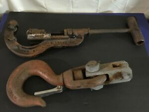 Antique Crosby Laughlin 11 Ton Swivel Hook No 4 Trimo 2 1 2 4 Pipe Cutter Duo