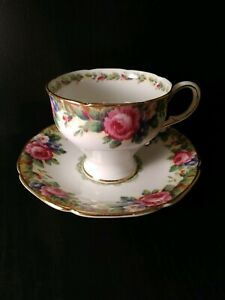 Vintage Paragon Bone China Tea Cup Saucer Set Tapestry Rose Pattern England