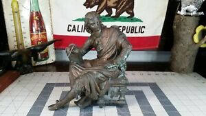 Turn Of The Century Spelter Mantle Piece Man With Books Author Student