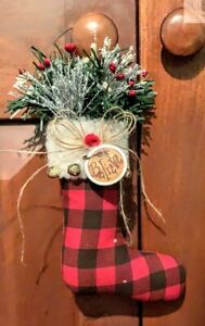 Christmas Primitive Country Handmade Buffalo Plaid Believe Stocking Ornie