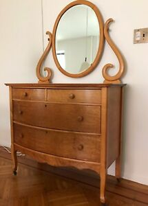 Antique Edwardian Style Bow Front Birdseye Maple Dresser And Mirror