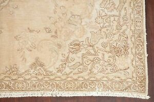 Antique Muted Geometric Distressed Oriental Area Rug Worn Pile Hand Knotted 6x9