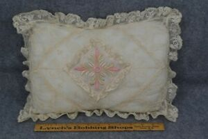 Pillow Lace Embroidered Needle Cotton Silk 10 X 13 Boudoir Victorian Antique Vg